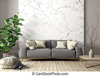 Modern interior of living room with gray sofa, coffee table and plant against marble wall 3d rendering