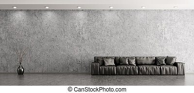 Interior of living room with sofa panorama 3d rendering