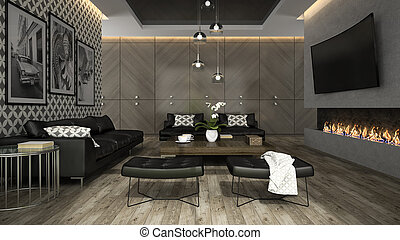 Interior of living room with stylish wallpaper 3D rendering ...