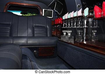 interior of luxurious limousine