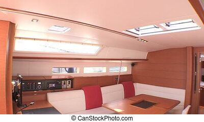 Interior of luxury sailboat