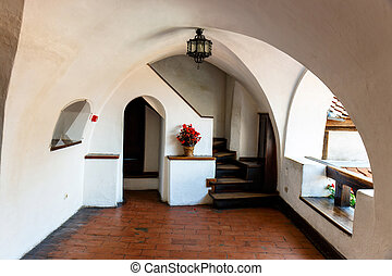 Interior of Medieval Castle of Bran also known for the myth...