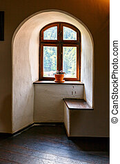 Interior of Medieval Castle of Bran also known for the myth of Dracula.