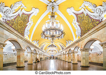Interior of Metro Station in Moscow