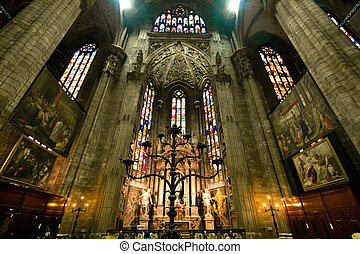 Interior of Milan Duomo Church Cathedral Milano Italy