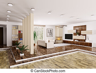 Interior of modern apartment 3d