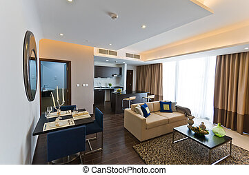 Interior of modern apartment - kitchen and lounge. NEF