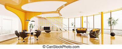 Interior of modern apartment panorama 3d render