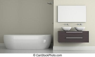 Interior of modern bathroom 3D