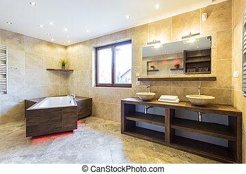 Interior of modern bathroom - Horizontal view of interior of...