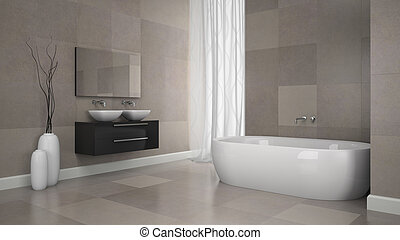 Interior of modern bathroom with granite tiles wall. 3D concept