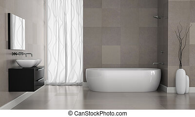 Interior of modern bathroom with grey tiles wall. 3D concept...