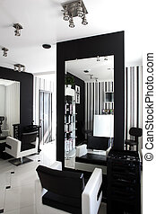 interior of modern beauty salon - black and white interior ...