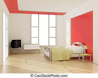 interior of modern bedroom. 3D illustration