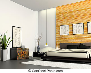 Interior of modern bedroom with Chinese furniture 3D rendering