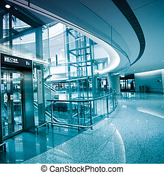 interior of the shanghai airport, modern building concept.