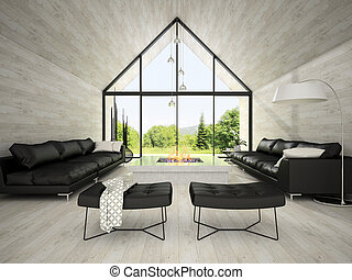 Interior of modern design living room 3D rendering 3