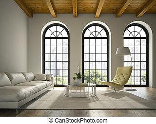 Interior of modern design loft with white sofa 3D rendering...