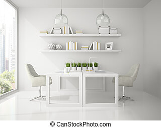 Interior of modern design office white color 3D rendering