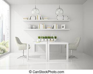 Interior of modern design office white color 3D rendering