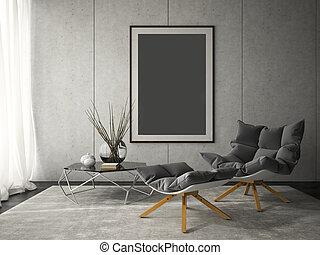 Interior of modern design room 3D illustration