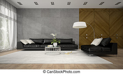 Interior of modern design room with wooden closet 3D rendering
