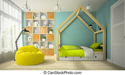 Interior of modern design room with original bed 3D rendering