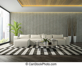 Interior of modern design room with white sofa 3D rendering