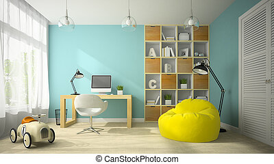 Interior of modern design room with toy car 3D rendering