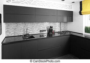 interior of modern european kitchen