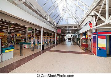 Interior of modern european supermarket