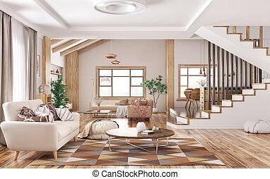 Interior of modern home 3d rendering