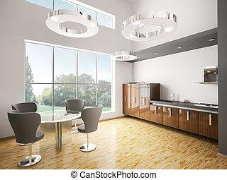Interior of modern kitchen 3d