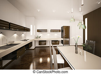 Interior of modern kitchen 3d render - Interior of modern...