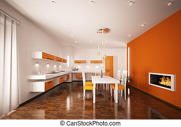 Interior of modern kitchen with fireplace 3d render