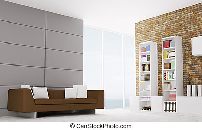 Interior of modern living room 3d