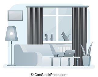 Interior of modern living room.