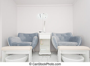 Interior of modern manicure salon without people. Luxury work places for masters of pedicure