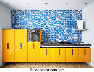 Interior of modern orange kitchen 3d