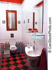 Interior of modern red and black bath room