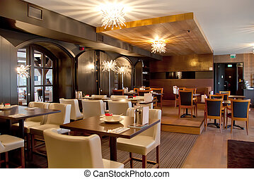 modern restaurant - interior of modern restaurant in classic...