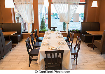 interior of modern restaurant with bar