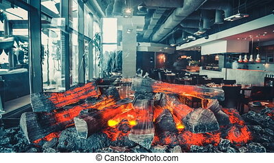 Interior of modern restaurant with fireplace