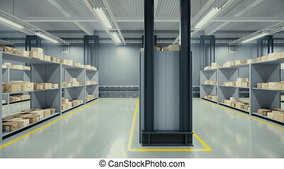 Interior of modern warehouse. - Loopable 3d animation of...