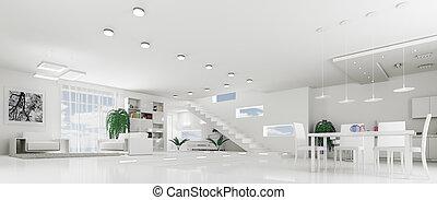 Interior of modern white apartment panorama - Interior of ...