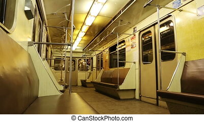 interior of moving subway car