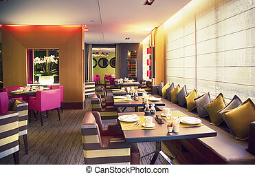modern restaurant - interior of new modern restaurant