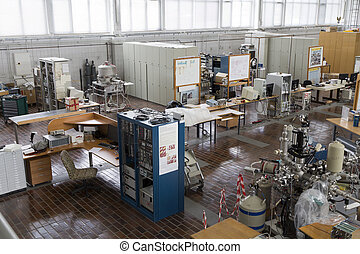 Interior of nuclear laboratory with important electronic...