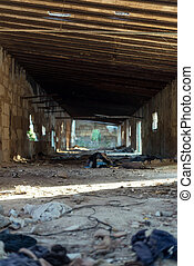 Interior of old abandoned building.