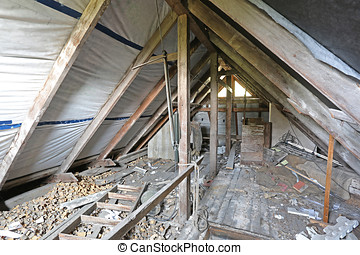 interior of old messy attic